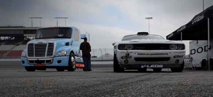 dodge challenger and semi truck drift