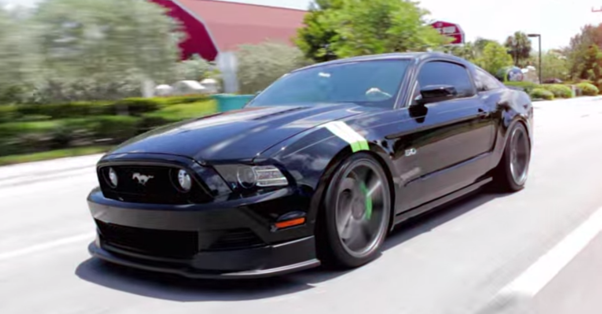 2012 Ford Mustang custom airbagged on 20 inch Vossen wheels american muscle car