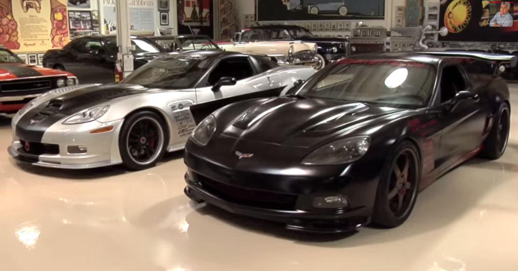 SMOKING CORVETTES TWO AMERICAN SPORTS CARS IN JAY LENOS GARAGE - Sports cars garage