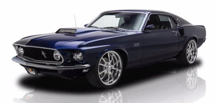 supercharged 1969 ford mustang muscle car