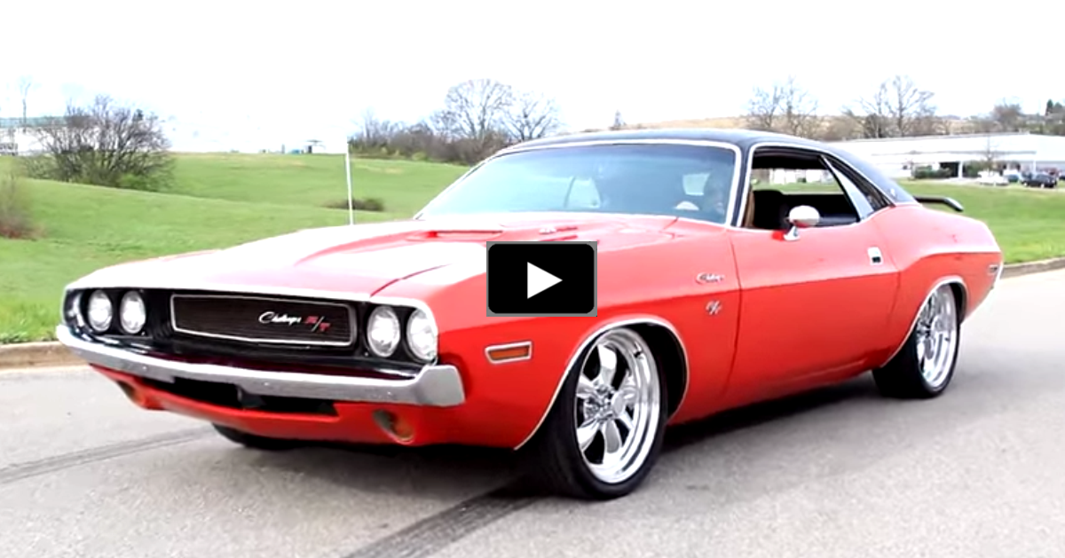 restored dodge challenger muscle car