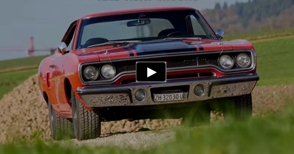 restored plymouth roadrunner muscle car