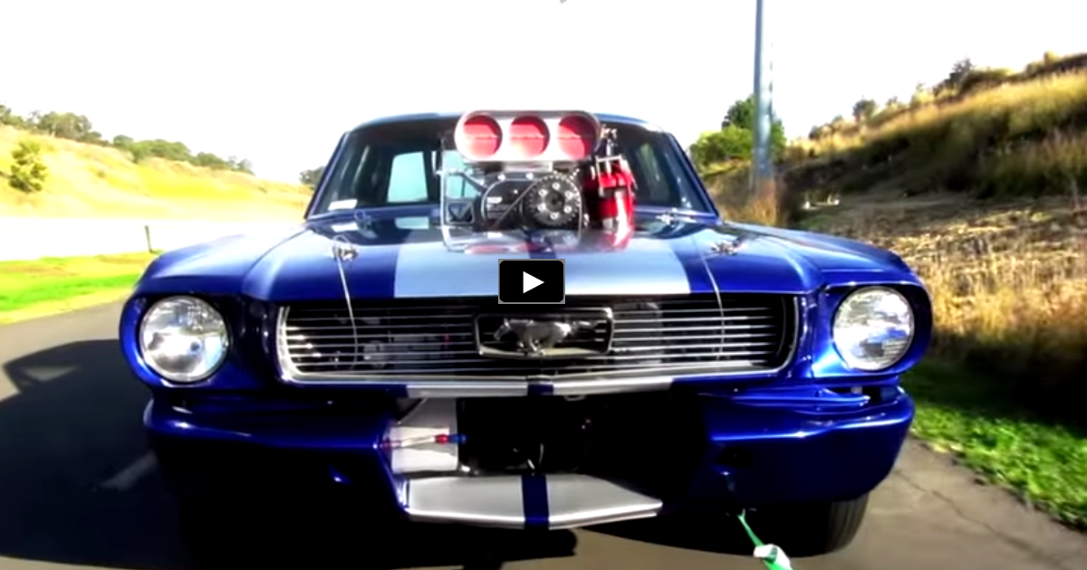 blown 1966 ford mustang drag car on hot cars