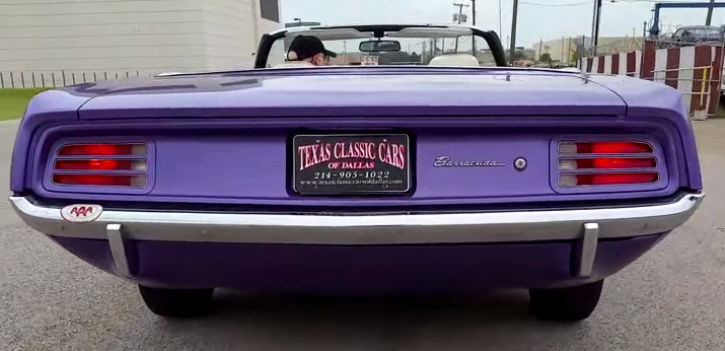 plum crazy purple 1970 plymouth barracuda 318 convertible