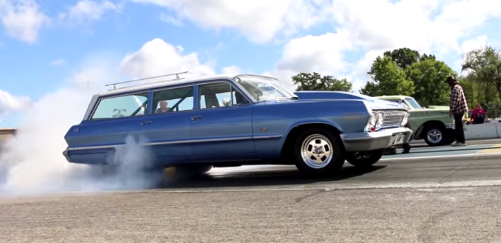 blown 1963 chevy impala station wagon at byron drag way