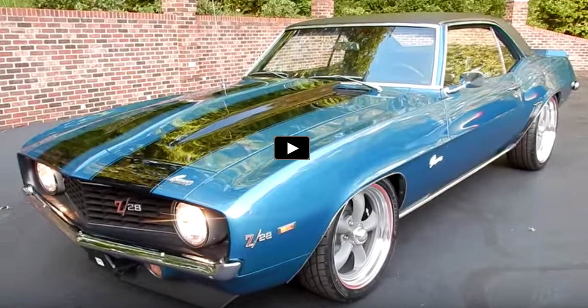 restored 1969 chevy camaro z28 in lemans blue