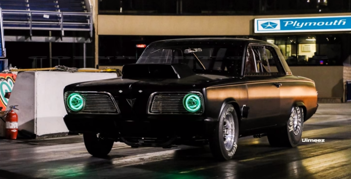 green eyed 1966 plymouth valiant drag racing