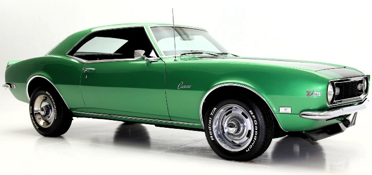1968 chevrolet camaro z28 rally green