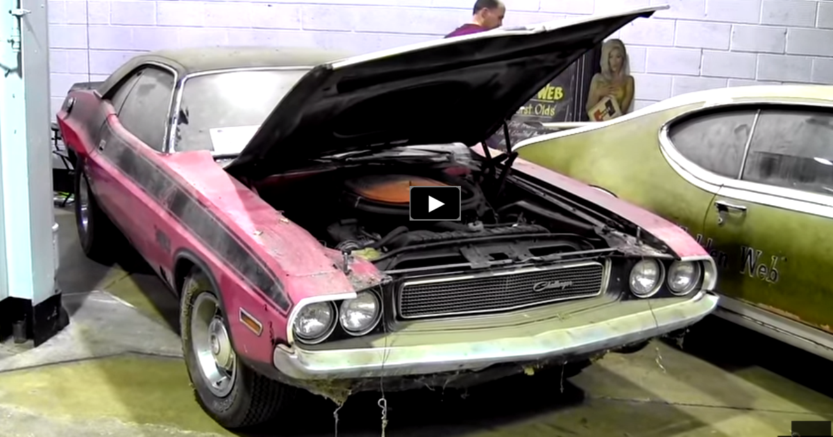 barn find 1970 challenger in panther pink