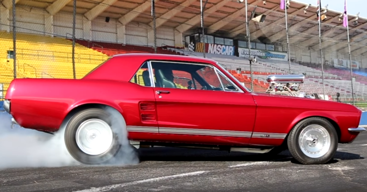 supercharged 1967 mustang coupe burnout