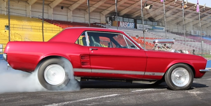 supercharged 1967 mustang 427 burnout