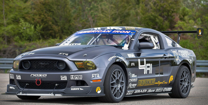mustang rtr race car at the race track