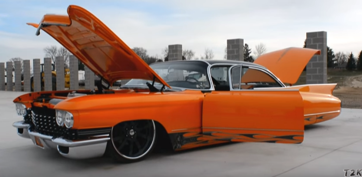 fully custom 1960 cadillac in orange pearl