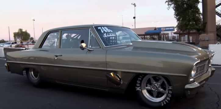 procharged 1966 chevy II nova drag racing