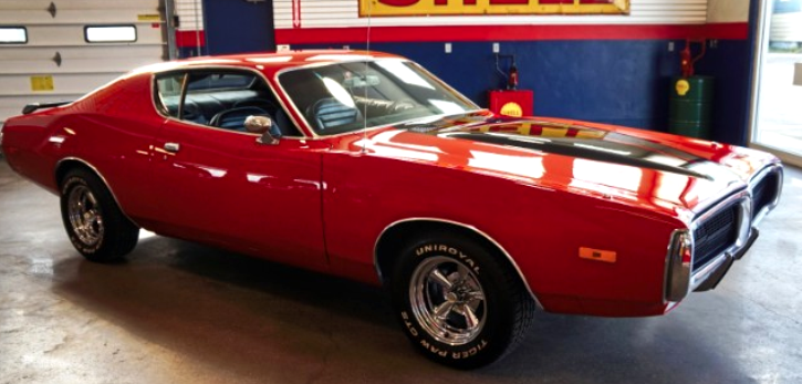 1972 dodge charger in bright red