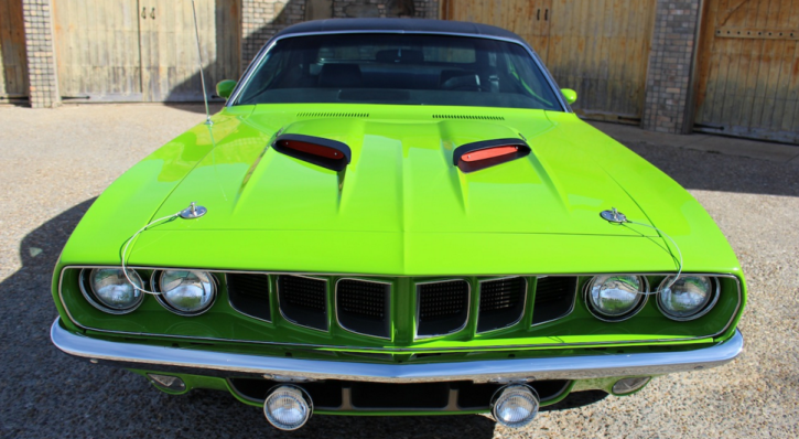 lime green 1971 plymouth cuda restoration