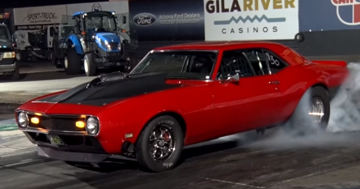 twin turbocharged 1968 chevrolet camaro drag racing