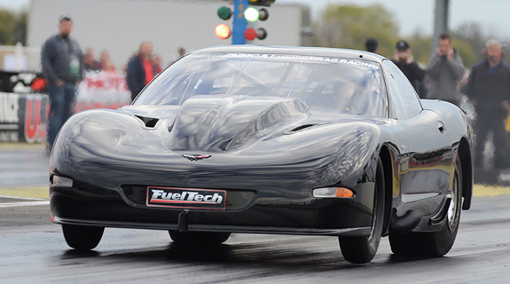fueltech powered twin turbo corvette drag racing