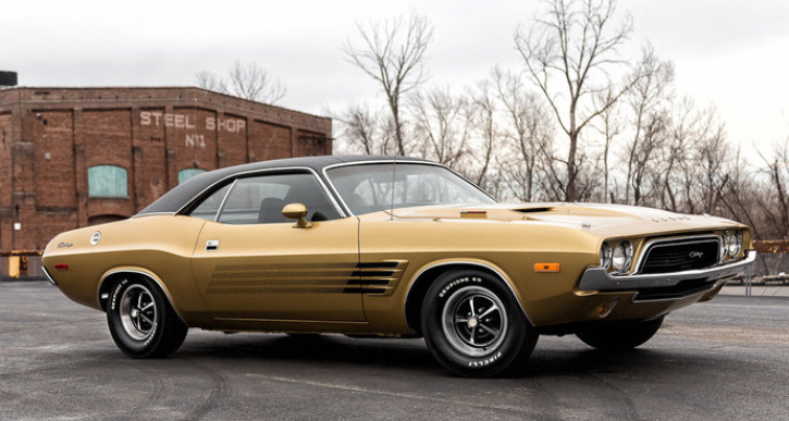 1973 dodge challenger in gold and black