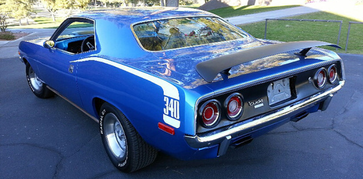 b5 blue 1973 plymouth cuda 340