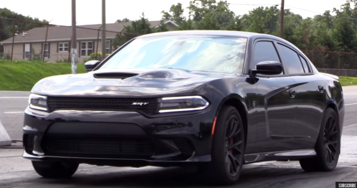 stock dodge hellcat charger on drag radials