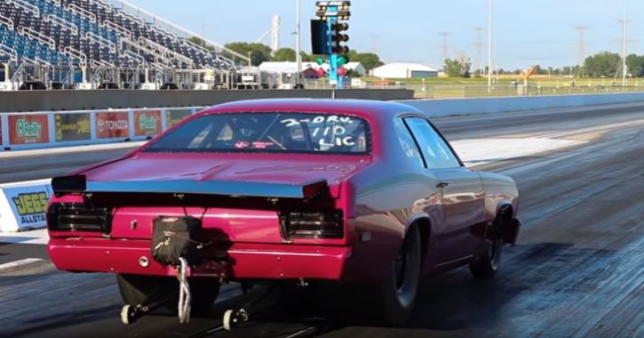 blown 1973 plymouth duster 512 on alcohol drag racing