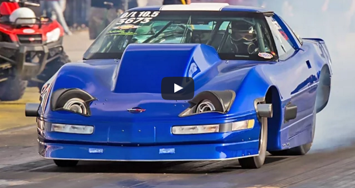 twin turbocharged chevrolet corvette c4 drag racing