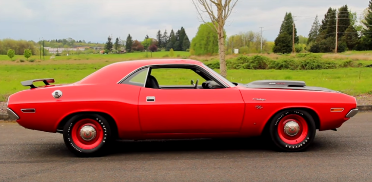 unique bright red 1970 dodge hemi challenger