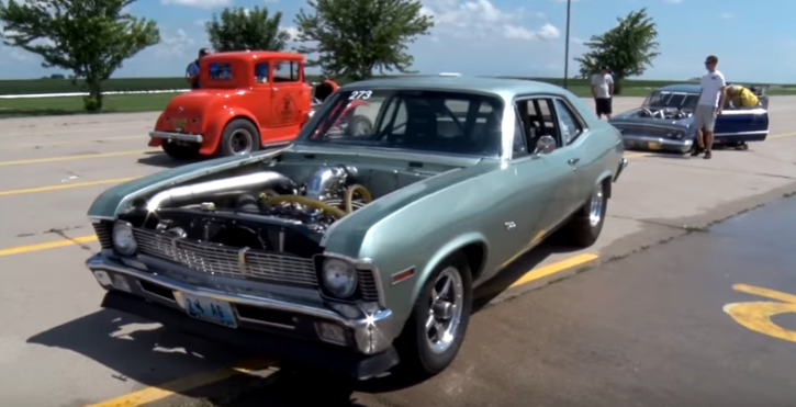 turbocharged 1970 chevy nova drag racing at king of the corn