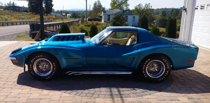 blue metallic 1972 chevrolet corvette custom