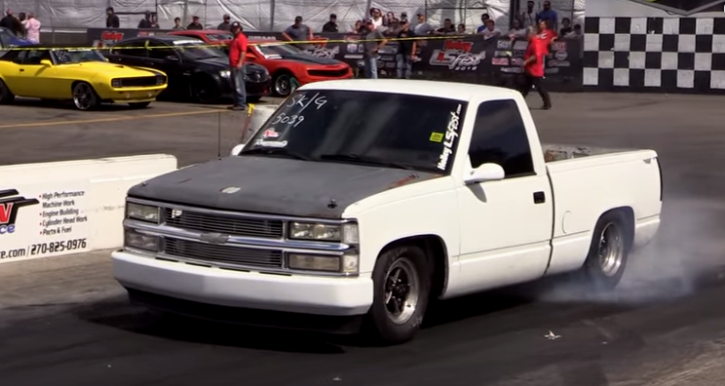turbocharged chevy truck drag racing