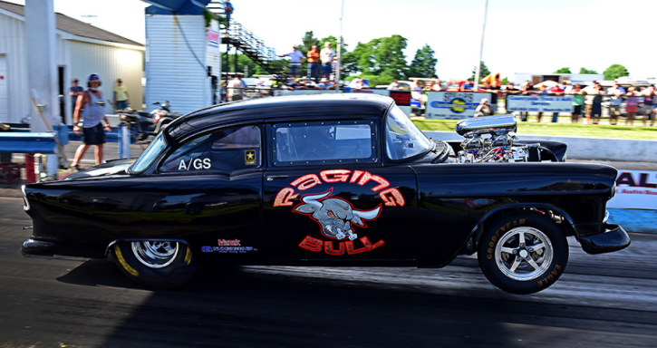 supercharged tri five chevy gasser drag racing