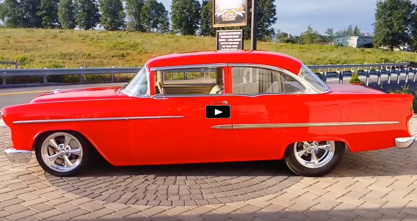 red 1955 chevy restomod