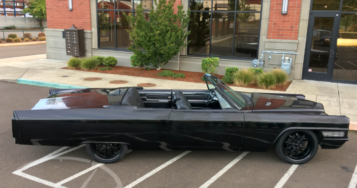 all black 1965 cadillac coupe deville chop top