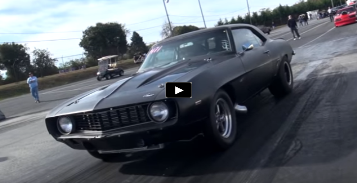 1969 chevy camaro drag racing