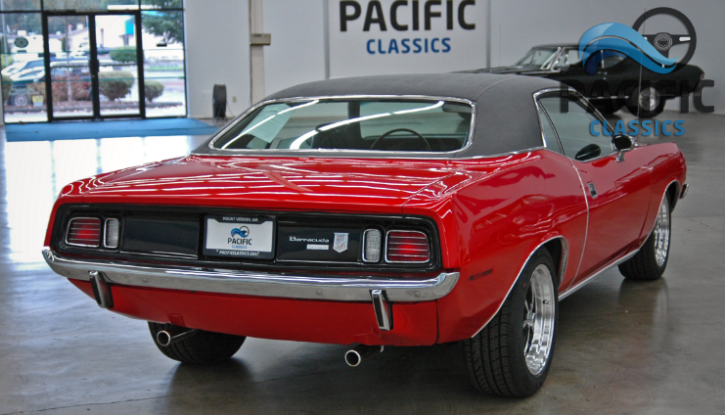 red 1971 plymouth cuda 318 automatic