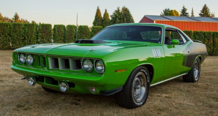 sassy grass green 1971 plymouth cuda 440 six barrel