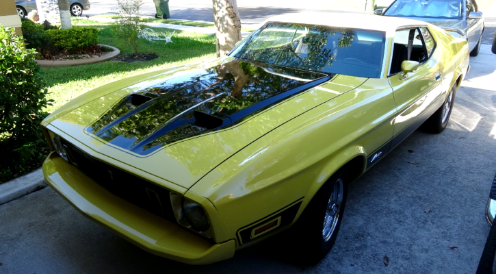 yellow 1973 ford mustang 351 automatic