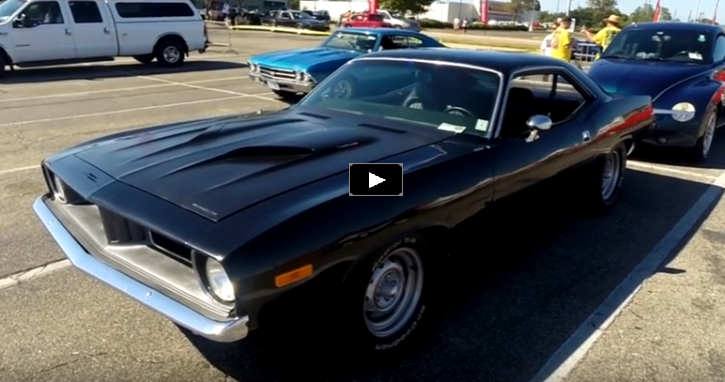 black on black 1973 plymouth cuda 440