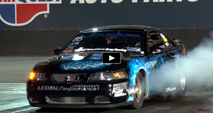 turbocharged cobra mustang drag racing