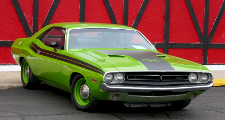 green go 1971 dodge challenger rt