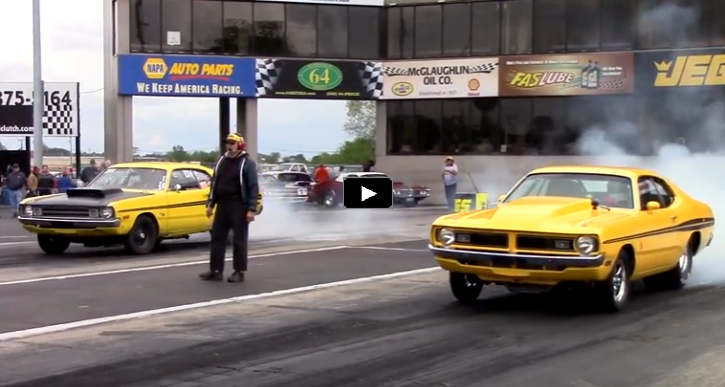 dodge vs dodge drag racing video
