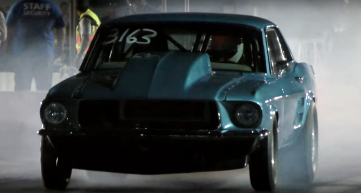 procharged 1967 mustang coupe drag racing
