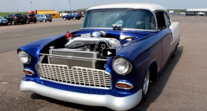 procharged 1955 chevy bel air street car drag racing