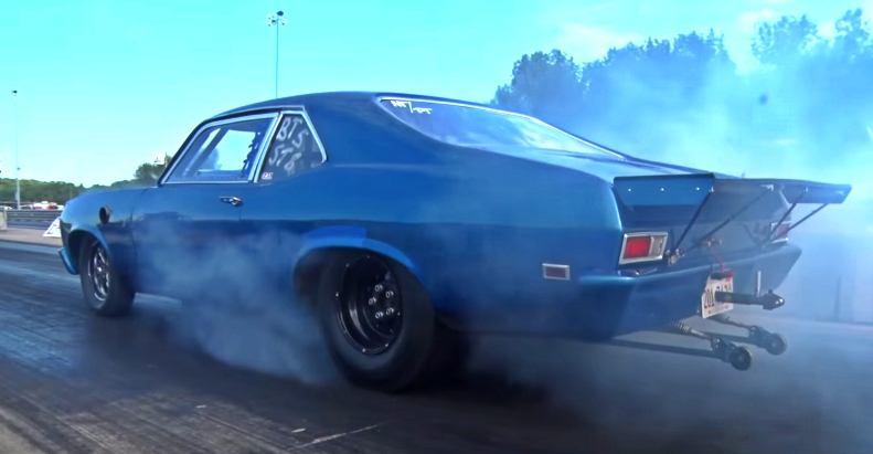pump gas chevy nova drag racing