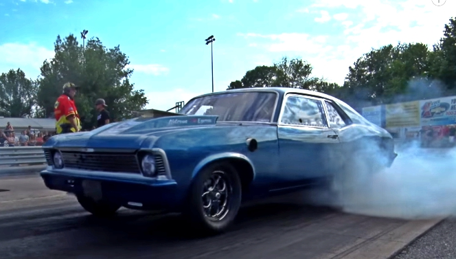 sprayed chevy nova drag racing