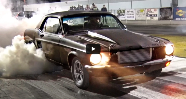 turbo 1967 mustang drag racing