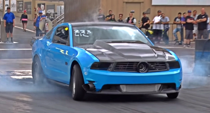 turbo mustang coyote drag racing