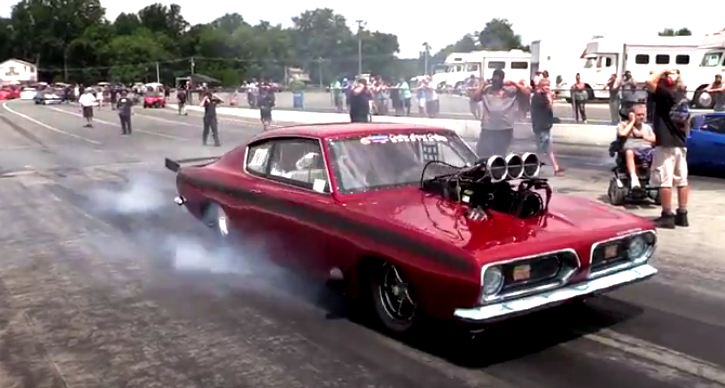 supercharged plymouth hemi barracuda drag racing