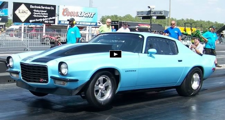 blue goose chevy camaro drag racing